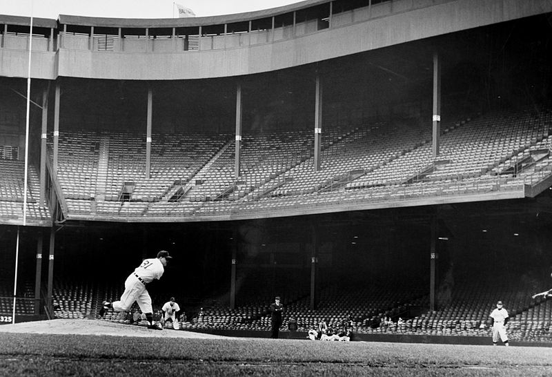 Detroit Tigers pitcher Ned Garver in a near-empty Tiger Stadium (then known as Briggs Stadium) in Detroit, Michigan.